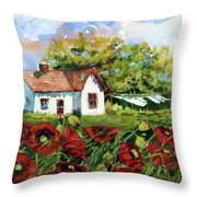 Poppies And Laundry Throw Pillow