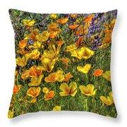 Poppies And Lupines Throw Pillow