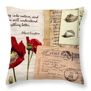 Poppies And Postcards Throw Pillow