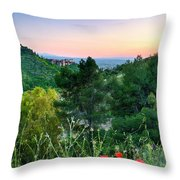 Poppies And The Alhambra Palace Throw Pillow