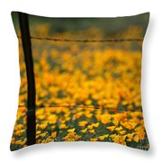 Poppies And Barbed Wires Throw Pillow