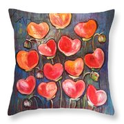 Poppies Are Hearts Of Love We Can Give Away Throw Pillow