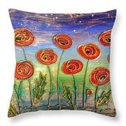 Poppies At Night Throw Pillow