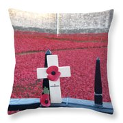 Poppies At Tower Of London Throw Pillow