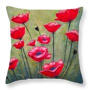 Poppies Field Throw Pillow