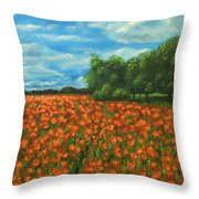 Poppies Field Original Painting Throw Pillow