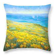 Poppies Greeting Whales Throw Pillow