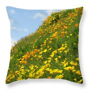 Poppies Hillside Meadow 17 Blue Sky White Clouds Giclee Art Prints Baslee Troutman Throw Pillow