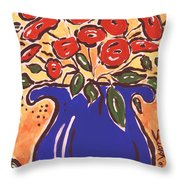 Poppies In Blue Vase 2001 Throw Pillow