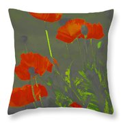 Poppies In Neon Throw Pillow