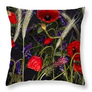Poppies In The Corn Throw Pillow