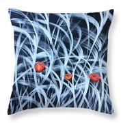 Poppies In The Grass Throw Pillow