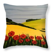 Poppies In The Hills Throw Pillow
