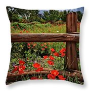Poppies In The Texas Hill Country Throw Pillow