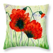 Poppies In The Wild Throw Pillow