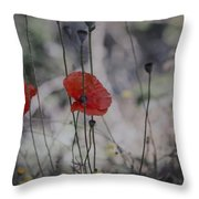 Poppies In Tuscany Throw Pillow