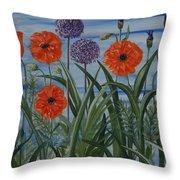 Poppies, Iris, Giant Alium Throw Pillow