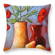 Poppies N Pears Throw Pillow