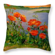 Poppies Near The River Throw Pillow