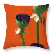 Poppies On Orange Throw Pillow