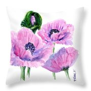Oriental Poppies Throw Pillow