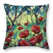 Poppies Through The Forest Throw Pillow