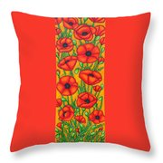 Poppies Under The Tuscan Sun Throw Pillow