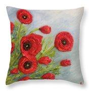Poppin Poppies Throw Pillow