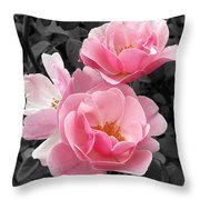 Popping Pink Roses Throw Pillow