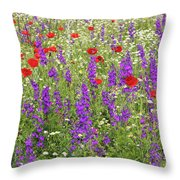 Poppy And Wild Flowers Meadow Nature Scene Throw Pillow