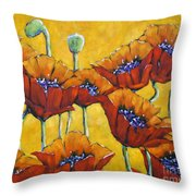 Poppy Craze By Prankearts Throw Pillow