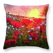 Poppy Fields At Dawn Throw Pillow