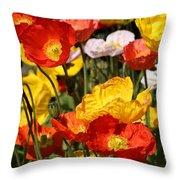 Poppy Flower Garden Throw Pillow