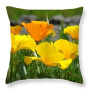 Poppy Flower Meadow 14 Poppies Orange Flowers Giclee Art Prints Baslee Troutman Throw Pillow