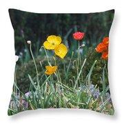 Poppy Flower Mix Throw Pillow