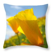 Poppy Flowers Meadow 3 Sunny Day Art Blue Sky Landscape Throw Pillow
