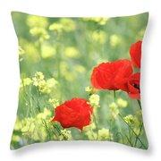 Poppy Flowers Spring Scene Throw Pillow