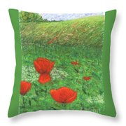 Poppy In Country Throw Pillow
