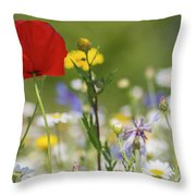 Poppy In Meadow  Throw Pillow
