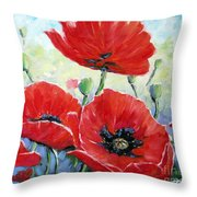 Poppy Love Floral Scene Throw Pillow