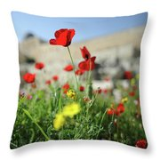 Red Poppy Flower On The Meadow Throw Pillow
