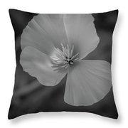 Poppy Monochrome Macro Throw Pillow