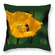 Poppy With Bee Friend Throw Pillow