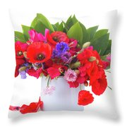Poppy With Sweet Pea And Corn Flowers On White Throw Pillow