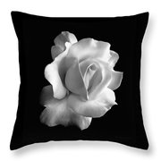Porcelain Rose Flower Black And White Throw Pillow