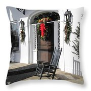 Porch At Boone Hall Plantation Charleston Sc Throw Pillow