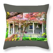 Porch Birdhouse Throw Pillow
