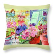 Porch Flowers Throw Pillow
