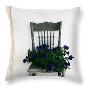 Porch Flowers Throw Pillow