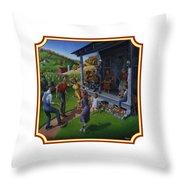 Porch Music And Flatfoot Dancing - Mountain Music - Farm Folk Art Landscape - Square Format Throw Pillow